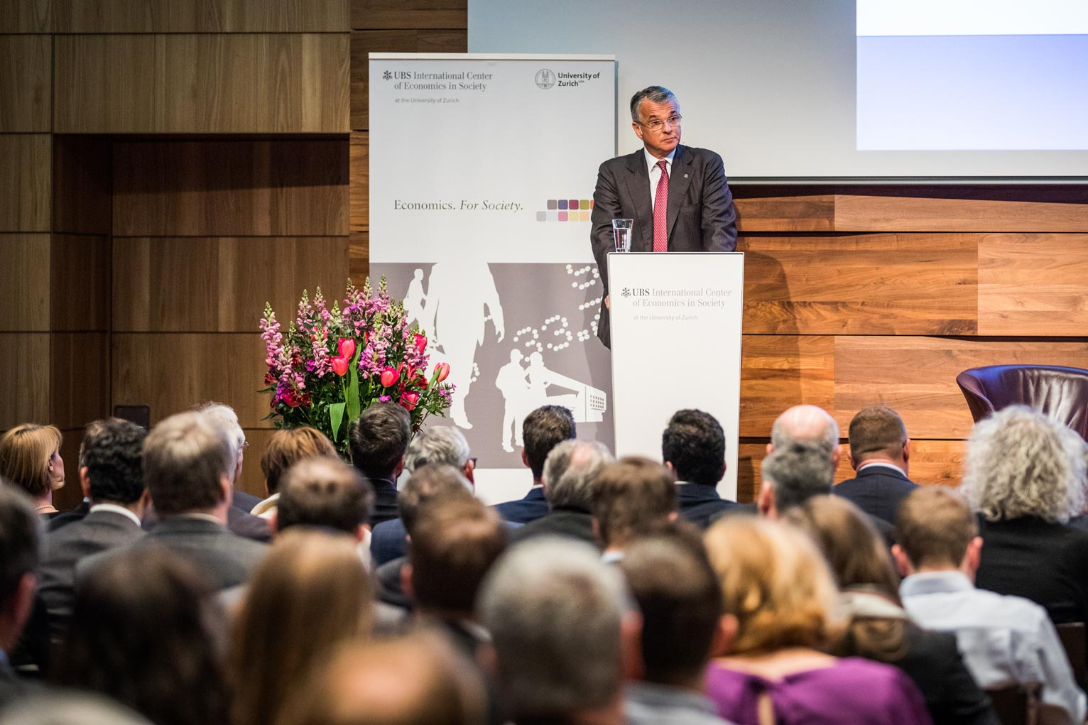 UBS Group CEO Sergio Ermotti delivering a keynote at the UBS Center Podium on the future of Swiss Finance.